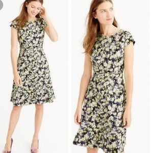 NWT J. Crew Cap Sleeve Dress Floral Clover Pattern